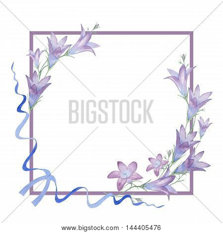 Square frame with flowers bells 3. Watercolor figure. Hand-drawing.  Decorative element for greeting card, invitation card.