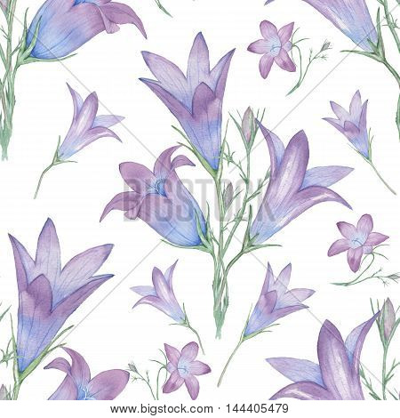 Seamless floral pattern with bells. Watercolor painting. Hand drawing. Decorative element suitable for Wallpaper, wrapping paper and backgrounds