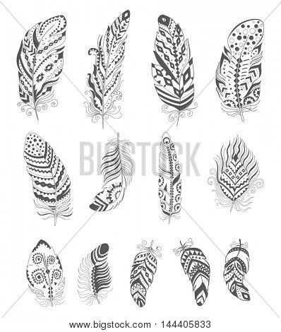Set of Ornamental Boho Style Feather. Hippie Design Elements.  Ethnic Decoration for Tattoo, T-shirt, Fabric. Trendy Tribal Symbol Collection.