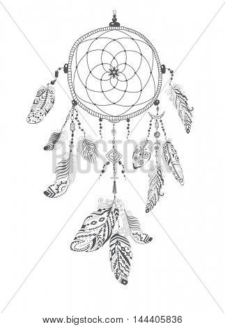 Native American Indian Talisman Dream catcher with Feathers.  Ethnic Design, Boho Style.