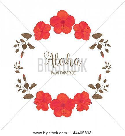 Floral Frame with Hibiscus. Summer Greeting Card Design. T-shirt Fashion Graphic.
