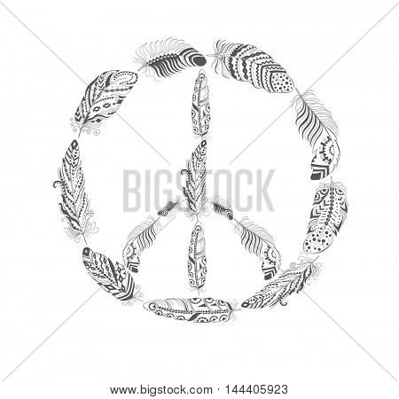 Peace Hippie Symbol with Feather in Boho Style. American Indian Motifs for T-shirt.  Ethnic Decoration.