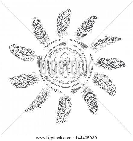 Boho Style with Ethnic Arrows and Feathers. American Indian Motifs for T-shirt .  Ethnic Decoration.