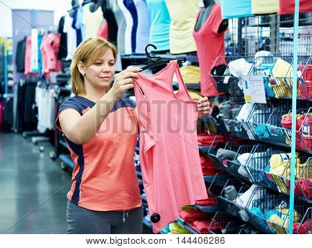 Woman Chooses Sportwear For Fitness