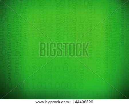 Abstract binary code with green board background