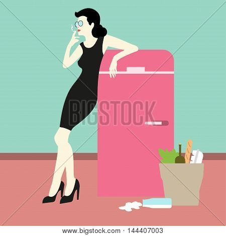 Bad housewife Vector illustration Modern housewife smokes a cigarette leaning on the fridge