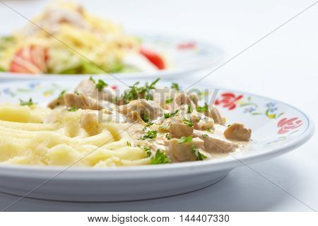 mashed potato with meat