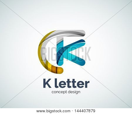 Vector k letter logo, abstract geometric logotype template, created with overlapping elements