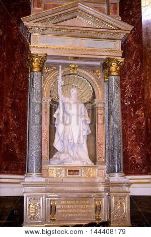 BUDAPEST, HUNGARY - AUG 18 2014: Statue in the St. Stephen's Basilica, a Roman Catholic basilica in Budapest, Hungary. It is named in honour of Stephen, the first King of Hungary, built in 1905