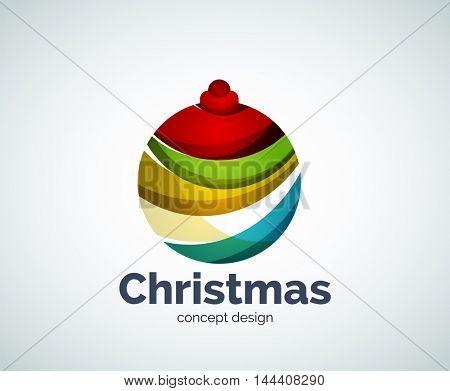Vector Christmas ball logo template, abstract business icon