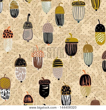 Seamless pattern with funny acorn icons