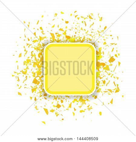 Yellow Confetti Banner Isolated on White Background. Set of Particles.