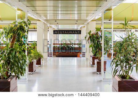 SEGET DONJI, CROATIA - AUG 20, 2014: Restaurant in Hotel Medena in Croatia. Hotel Medena is located 150m from the Adriatic Sea Coast and has 630 rooms