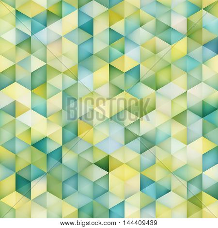 Vector Seamless Multicolor Gradient Triangle Shape Grid Pattern. Abstract Geometric Background Design