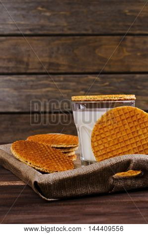 Traditional Dutch waffles on a dark background. Selective focus.