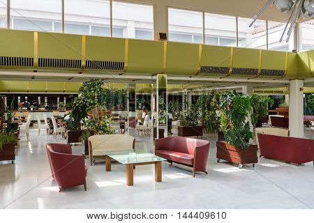 SEGET DONJI, CROATIA - AUG 20, 2014: Main hall of the Hotel Medena in Croatia. Hotel Medena is located 150m from the Adriatic Sea Coast and has 630 rooms