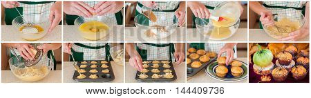 A Step by Step Collage of Making Halloween Pumpkin and Cheese Muffins Decorated with Spiders