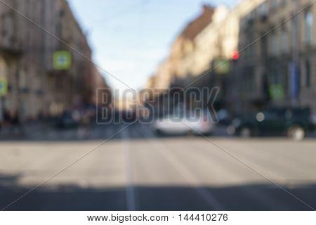 blurred bokeh background of summer day in saint-petersburg, real lens blur