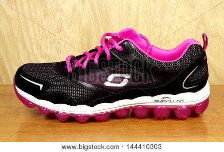 RIVER FALLS,WISCONSIN-AUGUST 25,2016: A closeup view of a Skechers brand athletic shoe. Skechers is headquartered in Manhattan Beach,California.