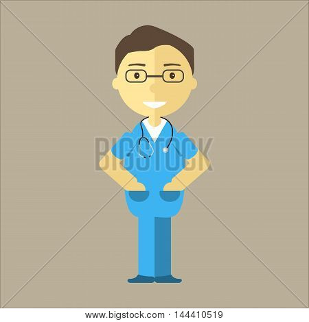Male nurse with stethoscope. Medical student man character or working hospital staff. Vector illustration flat design