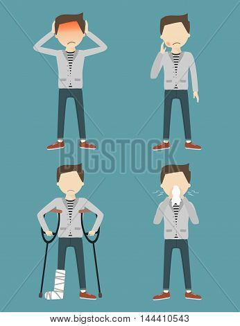Set with sick man. Headache, toothache, broken leg, allergy or runny nose. Vector illustration flat design