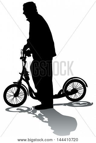 Sport man whit scooter on white background