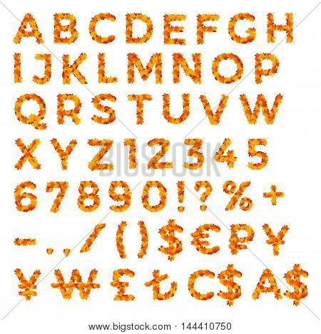 Set of alphabet, numbers, punctuation marks and currency signs made of yellow and red autumn leaves for discounts, promo ads, posters and flyers
