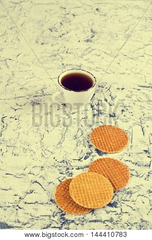 Traditional Dutch waffles on a light background. Selective focus.
