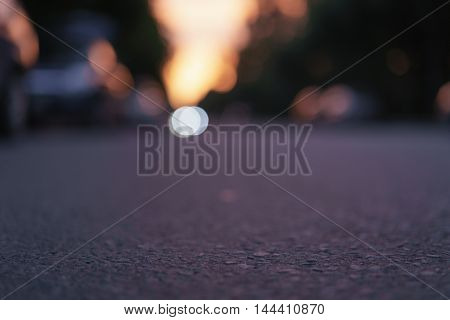 night street town bokeh blurred background, real lens blur