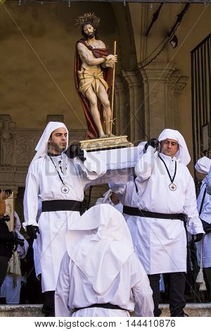 CAGLIARI, ITALY - March 31, 2015: Religious procession of Holy Week - Sardinia