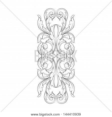 Vintage border frame engraving with retro ornament pattern in antique rococo style decorative design.