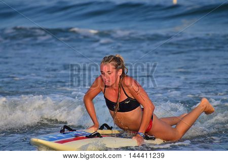 OCEAN CITY NEW JERSEY - JULY 27: Competitor at the Ocean City Beach Patrol Women's Invitational meet on July 27, 2017 in Ocean City, New Jersey