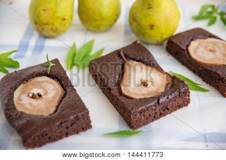 home made chocolate brownies with fresh pears