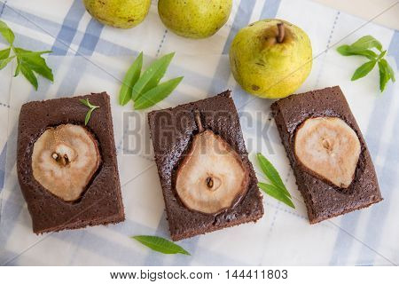 home made chocolate brownies with fresh pears