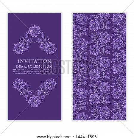 Ethnic greeting card invitation or wedding with lace and floral ornaments in purple. Vector design element.