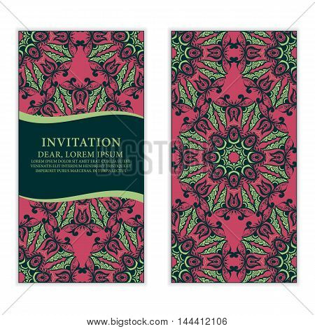Ethnic greeting card invitation or wedding with lace and floral ornaments on red background. Vector design element.