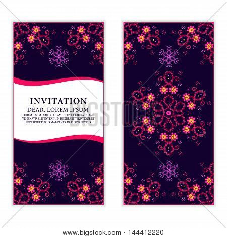 Ethnic greeting card invitation or wedding with lace and floral ornaments. on dark blue background Vector design element.