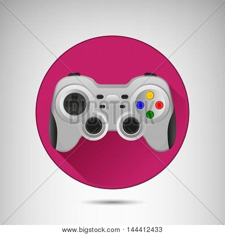 Wireless grey gamepad icon with long shadow. Vector flat illustration.