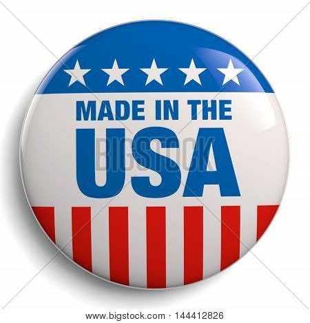 Made in the USA round badge button with American flag elements. Isolated on white. Clipping path included.