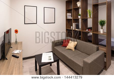 The living room in the modern apartment