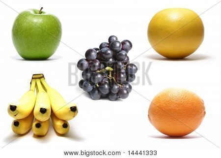 Apple, grapefruit, bananas, orange, grapes isolated on white background