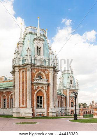 Towers of Tsaritsyno Palace in Moscow, Russia
