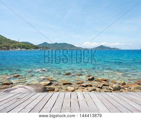 Beautiful Green Water In Ocean At Nang Yuan, Island In Gulf Of Thailand