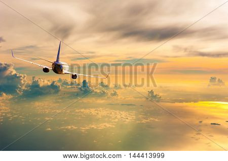 Airplane With Background Of Cloudy Sky At Sunset Or Sunrise, Exploration Conceptual