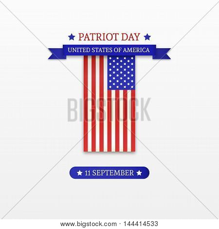 Stylish Patriot Day. American Flag stripes background. Vector Template illustration.