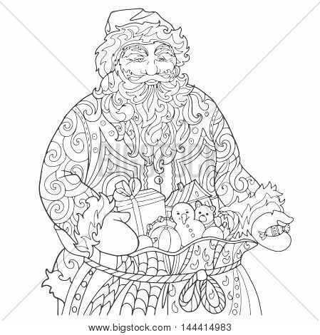 Santa Claus with a bag of gifts hand out candy. Coloring book, Christmas page.