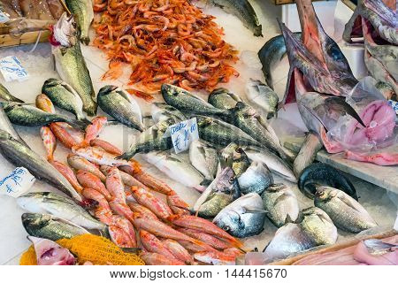 Fresh fish and seafood at the Vucciria market in Palermo, Sicily