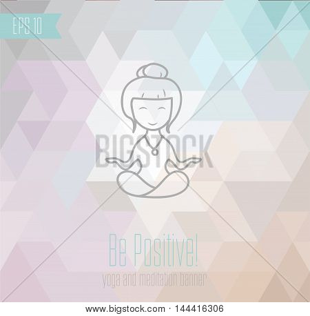 yoga banner on light, pastel geometrical background, vector illustration