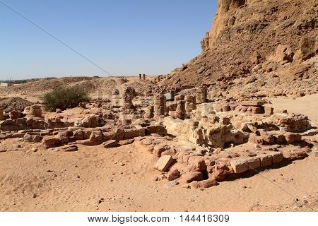 The temple ruins at Jebel Barkal in Sudan