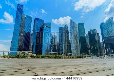 Singapore city skyline of business district downtown in daytime.
